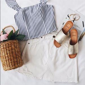 Dresses & Skirts - White mini denim jean summer women's skirt